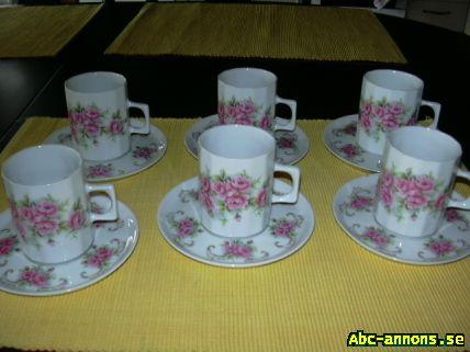 Bavaria Kaffekoppar - Blekinge, Olofström - 6st gamla kaffekoppar med tefat i jättefint skick Undertill står det Schwarzenhammer Bavaria Prisidé 300:- - Blekinge, Olofström